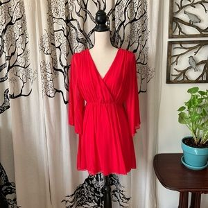 Alice + Olivia Red Silk Open Back Mini Dress
